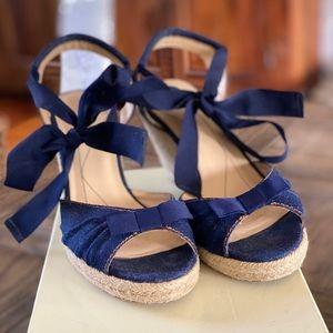 Kate Spade blue denim bowtie wedge heels 9